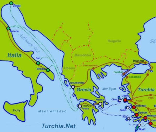 Cartina Italia Grecia Turchia.Traghetti Tra La Turchia E La Grecia